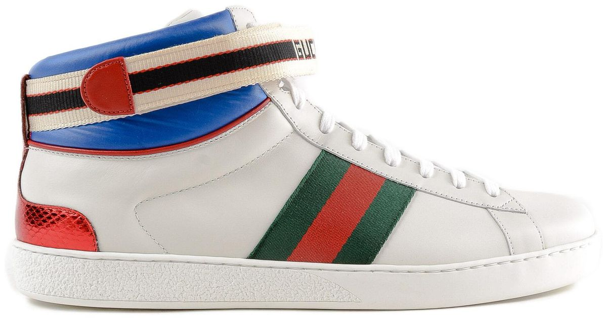 af467dbfe5a20 Gucci New Ace High Top Leather Trainers for Men - Lyst