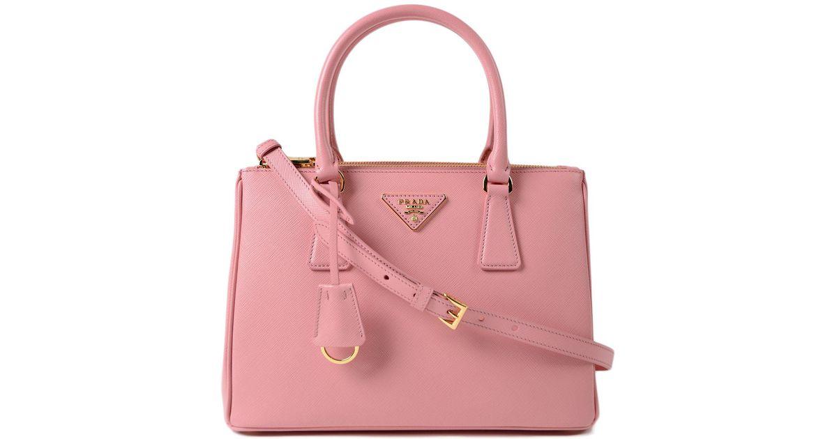 Lyst - Prada Galleria Handbag Saffiano Lux in Pink aa66c92888f52