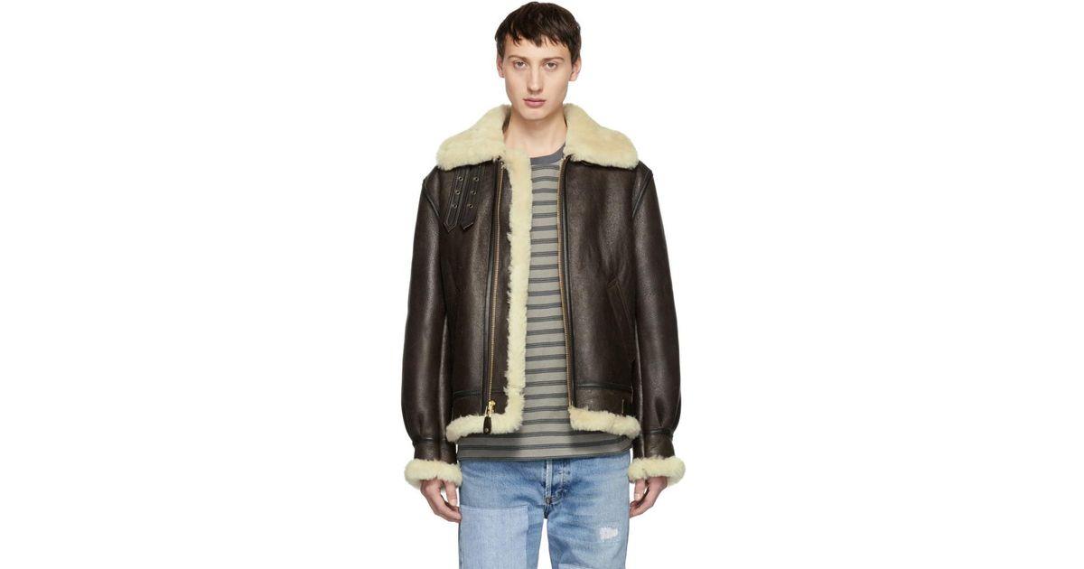 cf78cb90ee1 Lyst - Schott Nyc Brown B-3 Shearling Jacket in Brown for Men