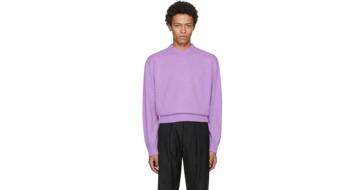 Acne Purple Nander V-neck Sweater in Purple for Men | Lyst