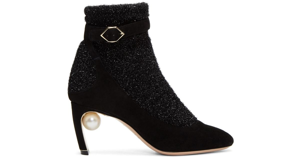 Nicholas Kirkwood Black & Gunmetal Lola Pearl Sock Pump Boots Sortie Geniue Stockist Acheter Pas Cher Pas Cher r1Fkv