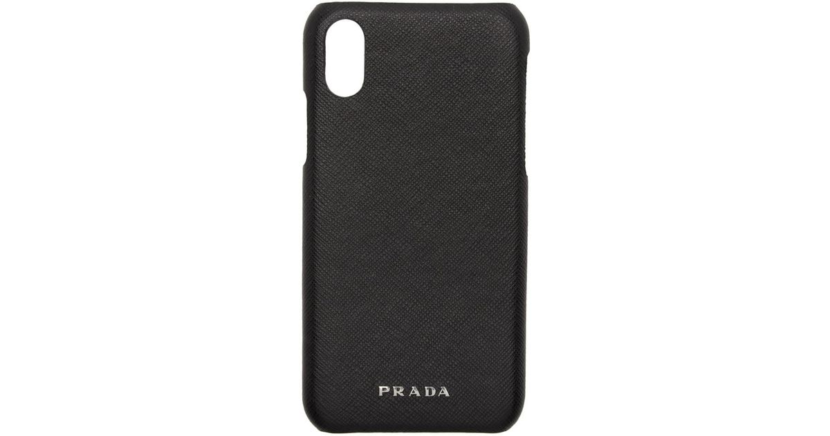 21abe60cbcbb Prada Black Saffiano Iphone X Case in Black for Men - Lyst