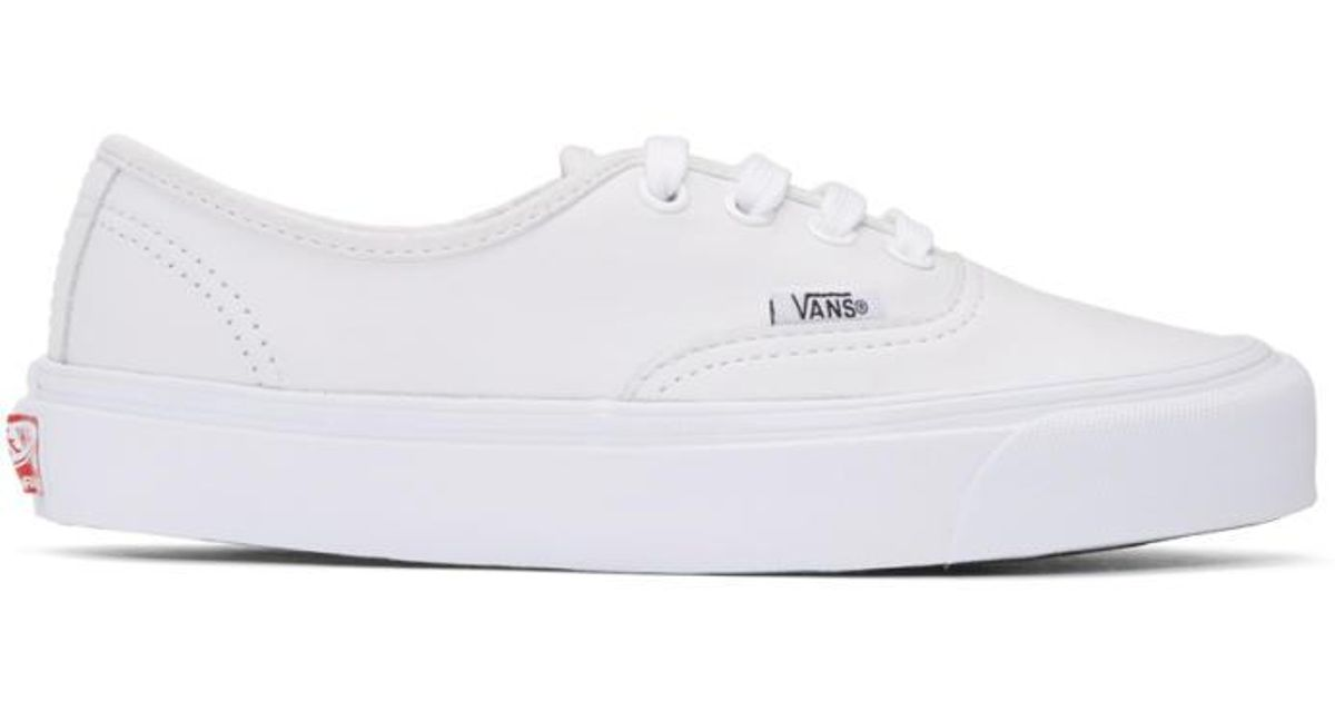 9ca6ffbeb3a Lyst - Vans White Leather Og Authentic Lx Sneakers in White