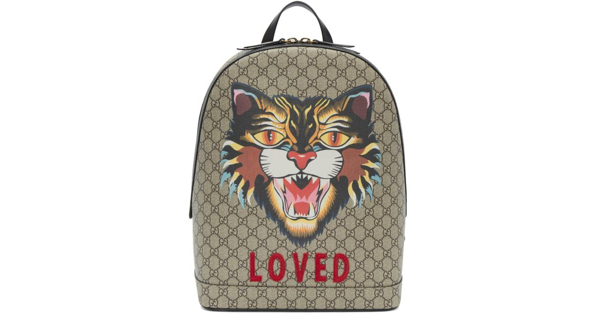 7c992d7934b4 Gucci Beige Gg Supreme 'loved' Angry Cat Backpack in Natural for Men - Lyst
