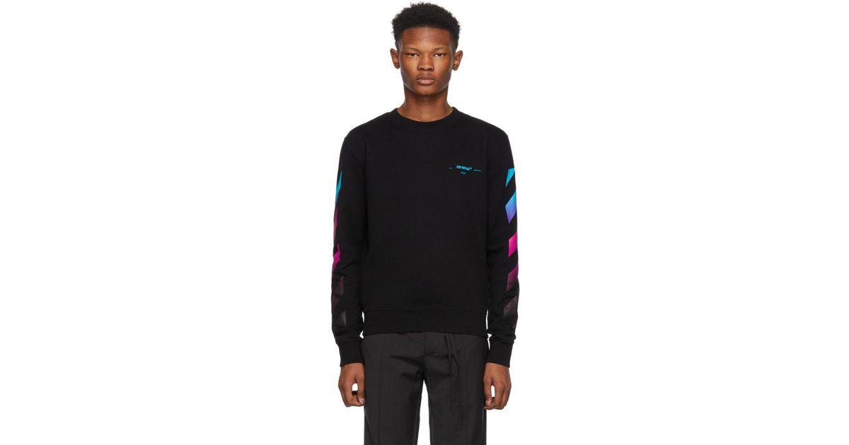 e02415af350a Lyst - Off-White c o Virgil Abloh Black Diagonal Gradient Crewneck  Sweatshirt in Black for Men