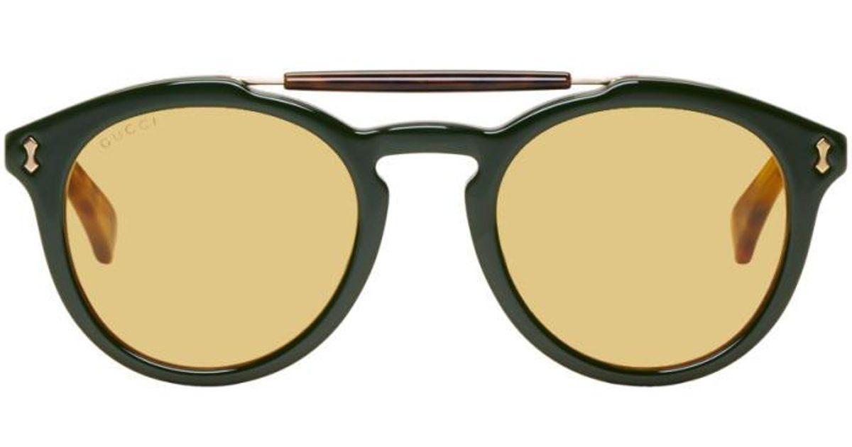b65e499579e Gucci Green   Red Vintage Pilot Sunglasses in Green - Lyst