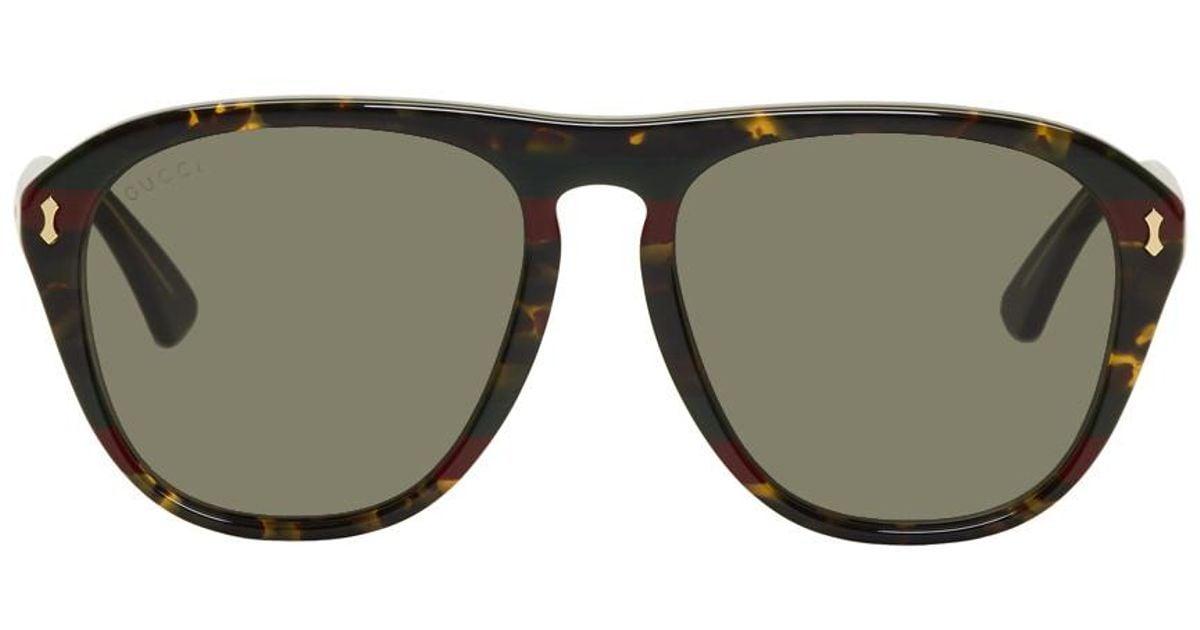 77aee072e4 Gucci Tortoiseshell Opulent Luxury Web Aviator Sunglasses for Men - Lyst