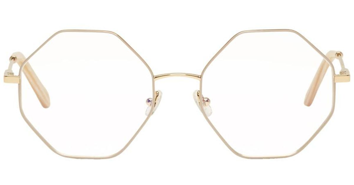 e755b3c6370b Chloé Gold & Beige Hexagon Glasses in Metallic - Lyst