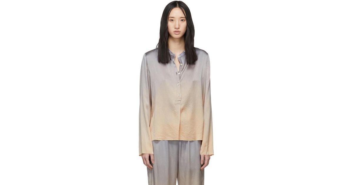 580fd7627fa6fe Raquel Allegra Silver Tie-dye Silk Shirt - Lyst