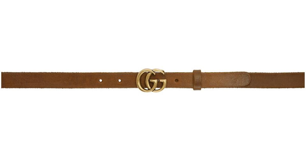 Lyst - Gucci Brown Thin GG Toscano Belt in Brown 2a1ef91dfec2
