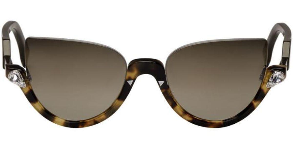 797f67bf7d Fendi Tortoiseshell Blink Sunglasses in Black - Lyst