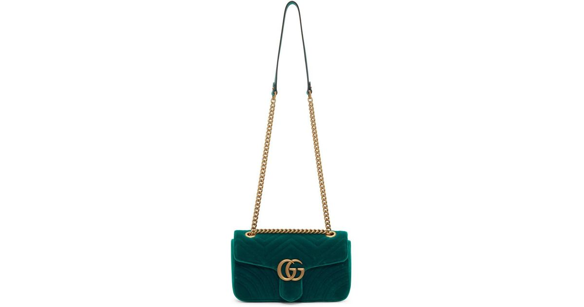 d0f632b0b Gucci Blue Velvet Small GG Marmont Bag in Green - Lyst