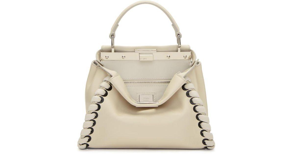 678662f0b0 ... greece lyst fendi white mini peekaboo bag in white 1cecd a73db