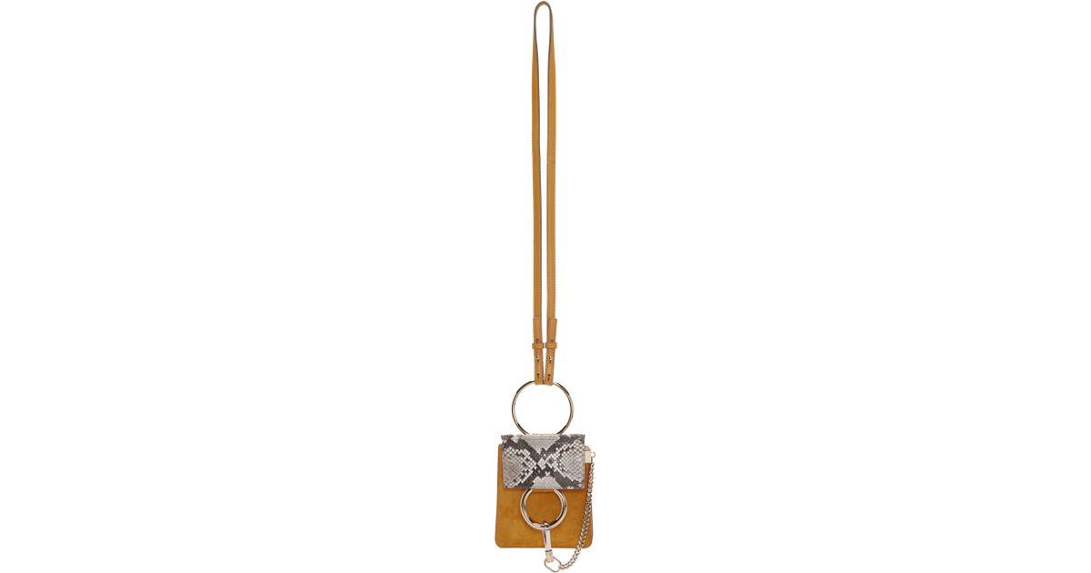 5258b5244fd1 Chloé Yellow Suede Mine Faye Bracelet Bag in Brown - Lyst