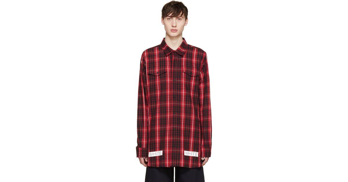 Off white c o virgil abloh red black flannel check shirt for Red black and white flannel shirt