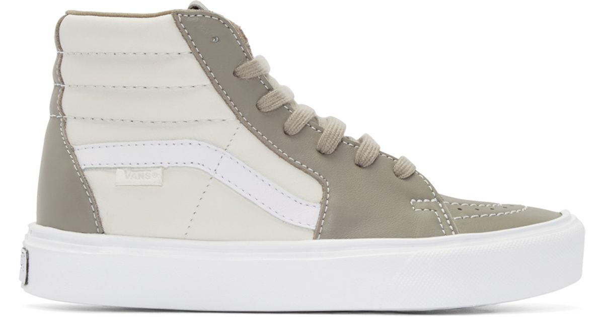 c54f970182 Lyst - Vans Taupe   Ivory Sk8-hi Lite Lx High-top Sneakers in White