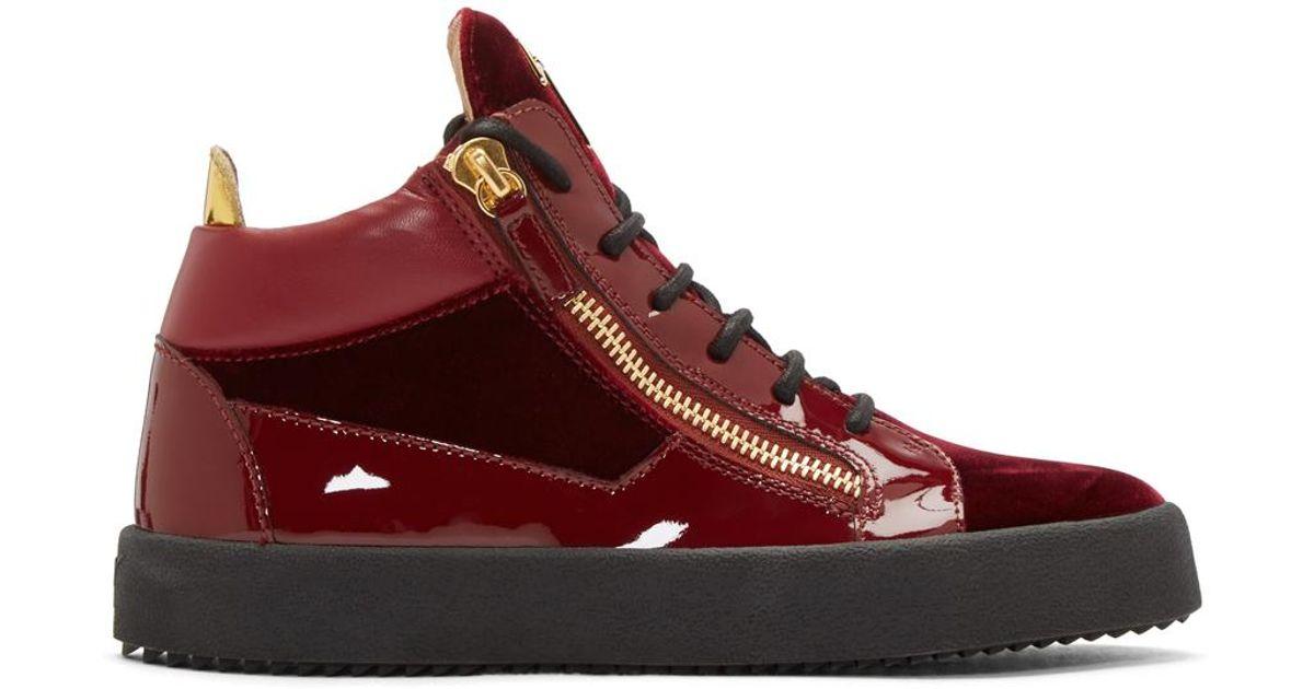 fc90206457fe2 Giuseppe Zanotti Red Velvet London High-top Sneakers in Red for Men - Lyst