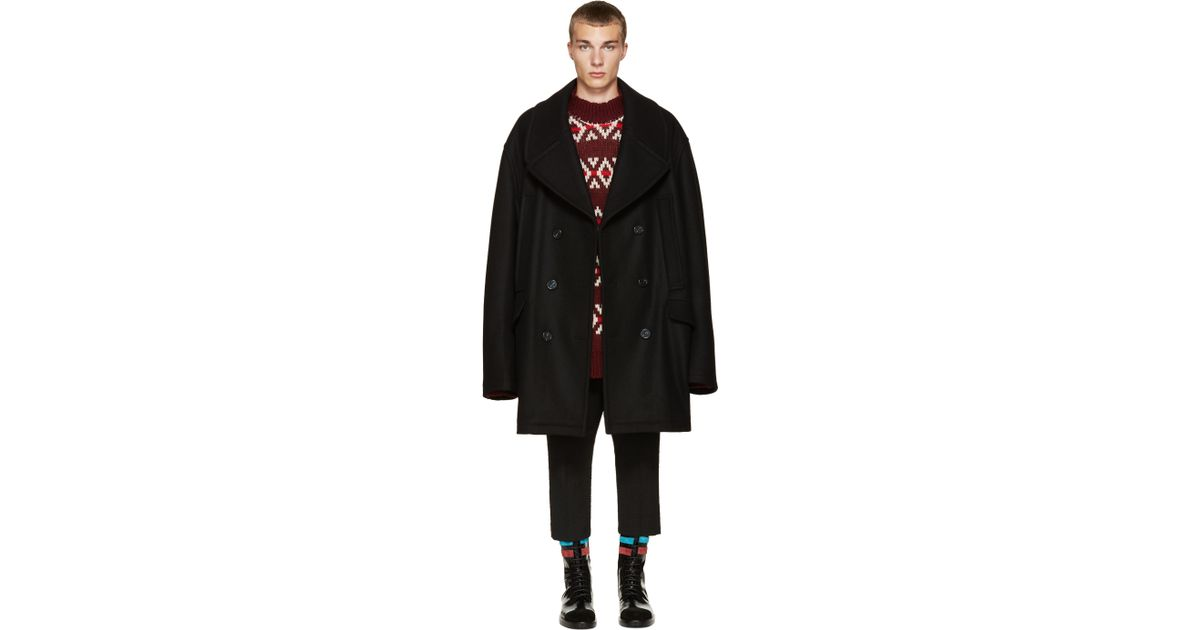 online retailer hot-selling fashion newest style Raf Simons Black Wool Oversized Peacoat for men