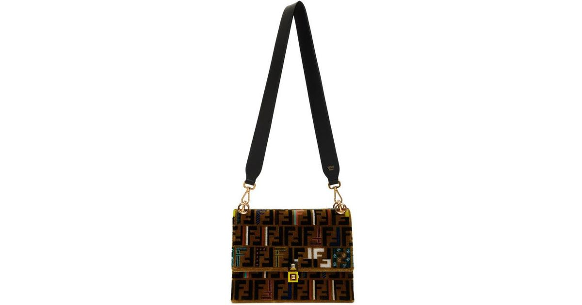 7eceb7dc20 Lyst - Fendi Brown Velvet Zucca Embroidery Kan I Bag in Brown