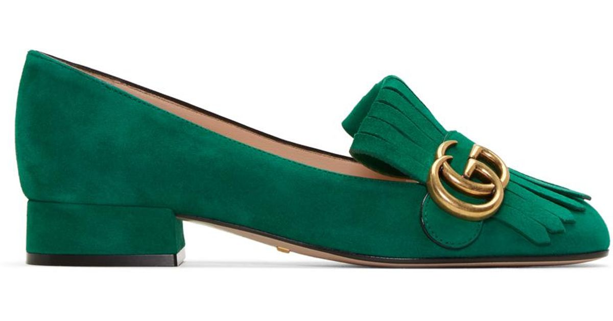 c5ee1fcb6a6 Lyst - Gucci Green Fringe Marmont Loafer in Green