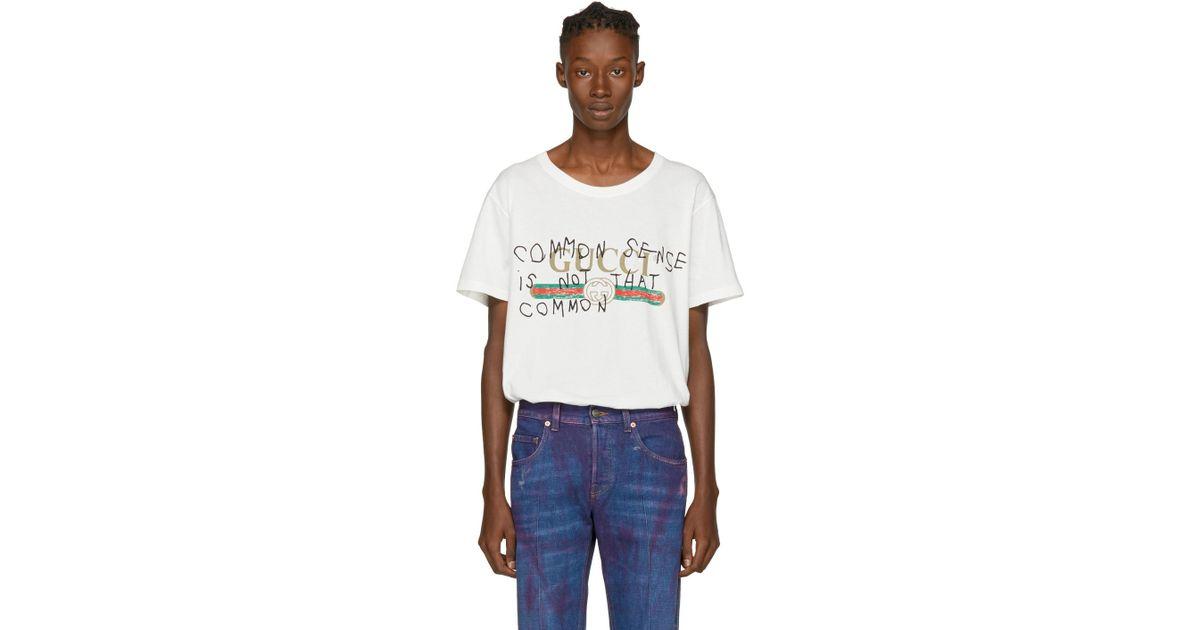 1c0bc62909c Lyst - Gucci White Coco Capitán Edition  common Sense  Logo T-shirt in  White for Men