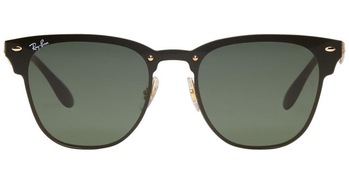 3b9d3a3f4e2 Ray-Ban Black And Gold Blaze Clubmaster Sunglasses in Metallic - Lyst