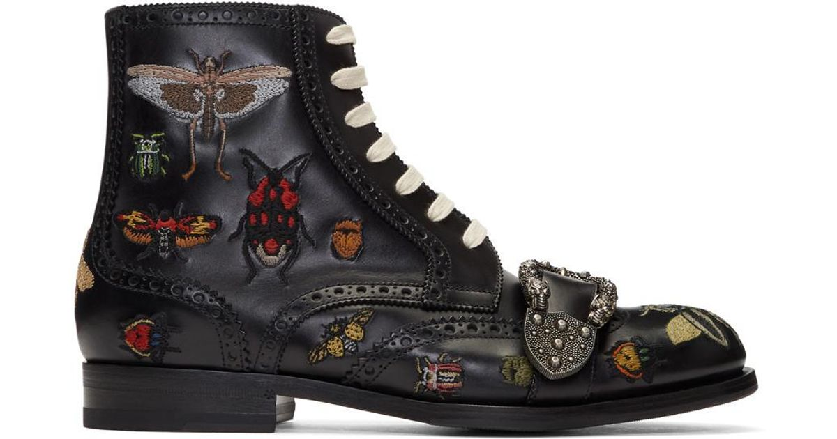 550910136ed Gucci Black Queercore Insect Brogue Boots in Black - Lyst