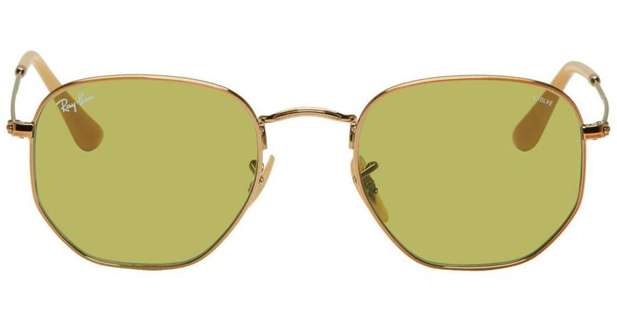 6e8d379391aa4 Ray-Ban Copper And Green Hexagonal Evolve Sunglasses for Men - Lyst