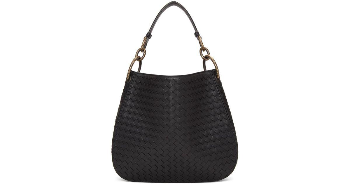 d4bd702aa2 Bottega Veneta Black Small Intrecciato Hobo Bag in Black - Lyst