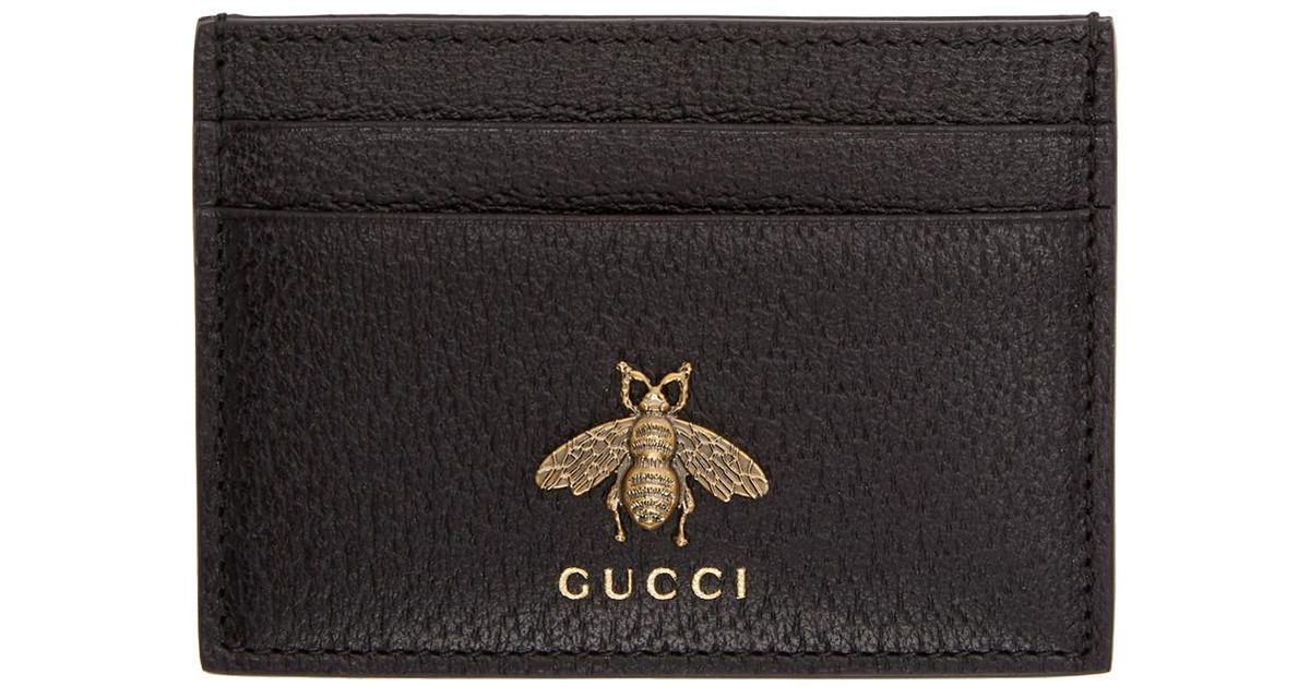 cea284679ce195 Gucci Black Bee Card Holder in Black for Men - Lyst