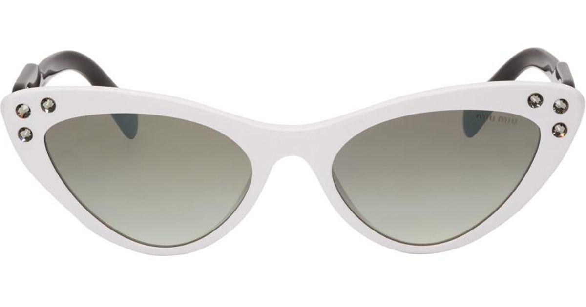 8ff2b494055 Miu Miu White Logomania Cat-eye Sunglasses - Lyst