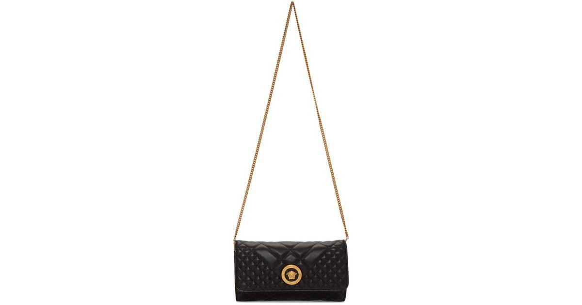 b63b6f27f9 Lyst - Versace Black Quilted Medusa Tribute Evening Bag in Black