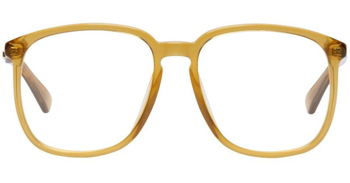3e9d5a0197666 Gucci Orange Transparent Glasses in Orange for Men - Lyst