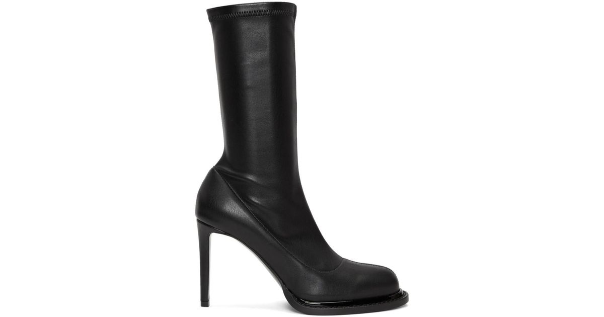 722ee13b346 Lyst - Stella McCartney Black Faux-leather Sock Boots in Black