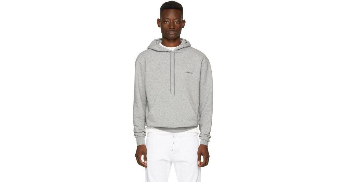 b8025404fe7 Lyst - Balenciaga Grey Small Logo Hoodie in Gray for Men