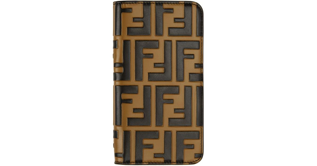 b684c654714c Lyst - Fendi Brown Forever Iphone X Case in Black