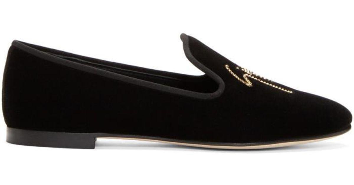 Flat shoes velvet Gem Metal eyelets black silver Giuseppe Zanotti Uno97p
