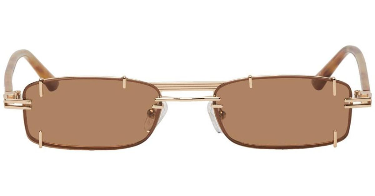 07734cab86 Lyst - Y. Project Gold And Brown Linda Farrow Edition Neo Sunglasses in  Yellow for Men