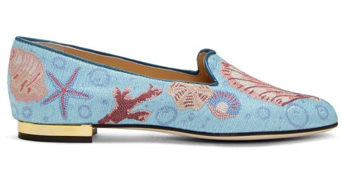 Blue Oceanic Slippers Charlotte Olympia vF5N1ax