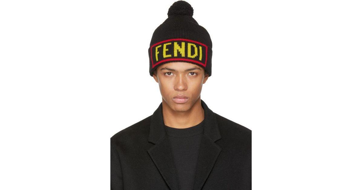 732d74f7d17c4 Fendi Black  love  Pom Pom Beanie in Black for Men - Lyst
