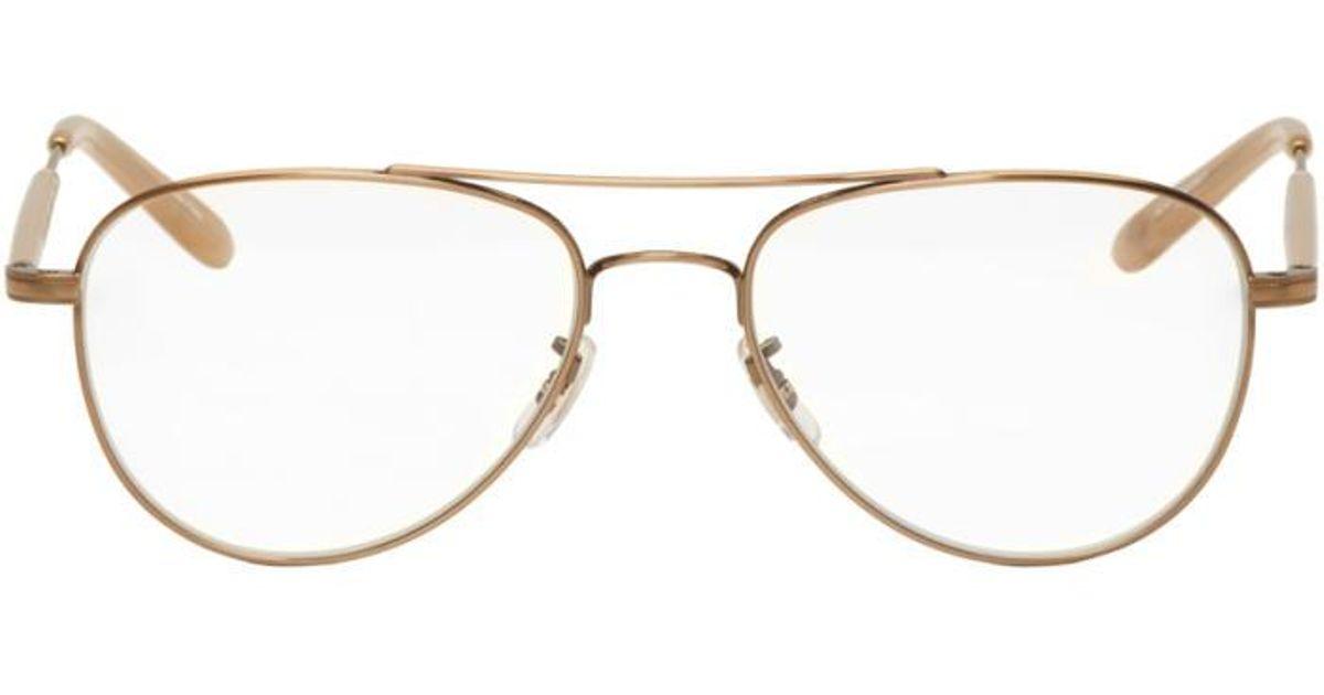 4bc4613332ae0 Garrett Leight Gold Linnie Aviator Glasses in Metallic - Lyst