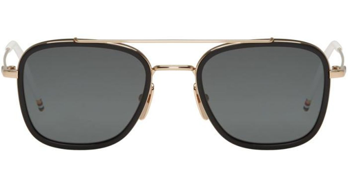 9bd0a2516bdb Lyst - Thom Browne Black Gold-plated Tb-800 Aviator Sunglasses in Black for  Men