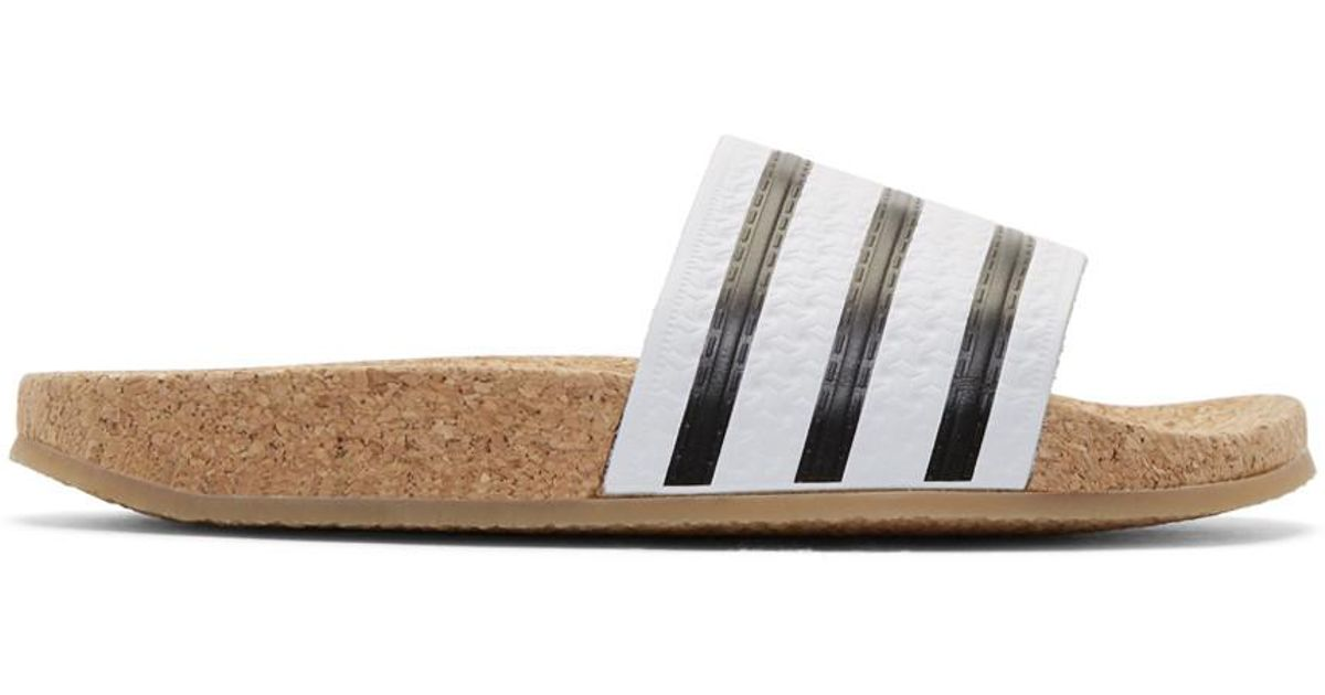 0226ed04daf Lyst - adidas Originals White Adilette Cork Slide Sandals in White