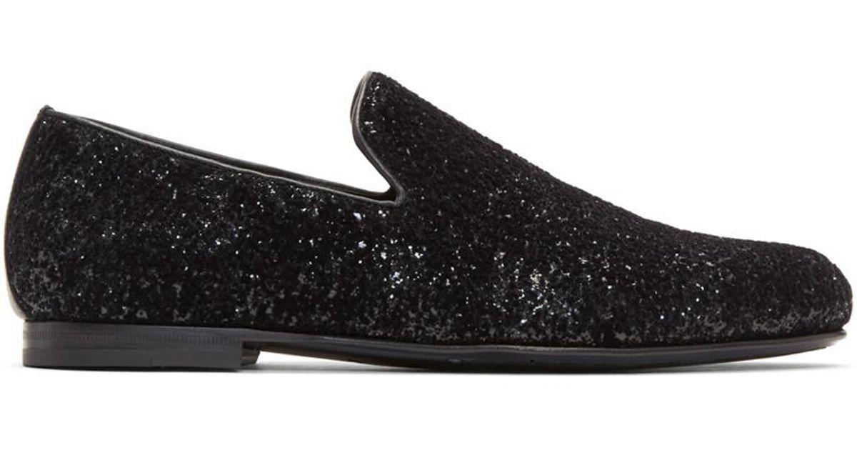 3d25f819313c Lyst - Jimmy Choo Black Velvet Glitter Devore Sloane Loafers in Black for  Men