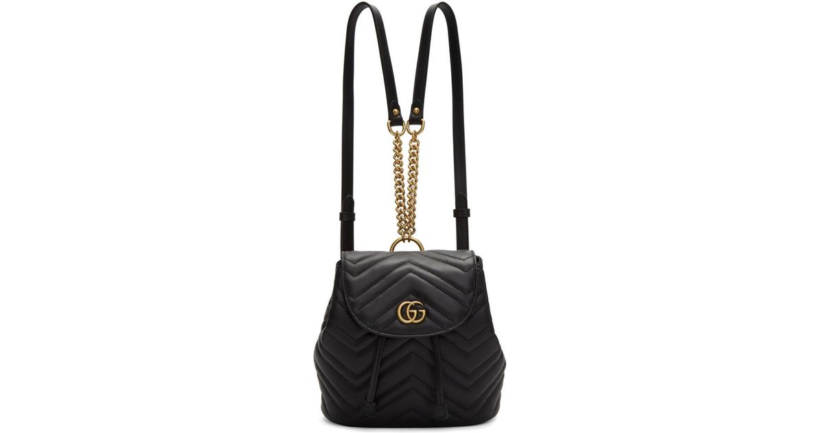 677532c158495c Gucci Black Mini GG Marmont 2.0 Backpack in Black - Lyst