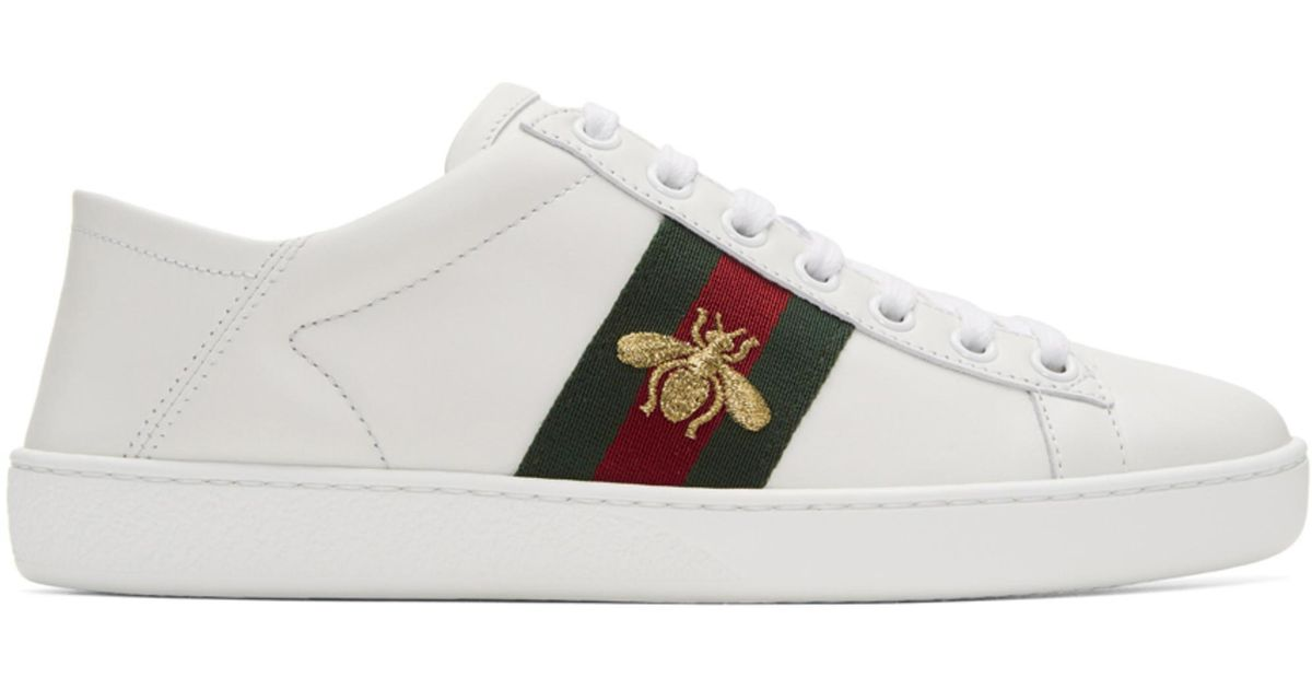 92a0a0ede9 ... aliexpress 0b380 89193 Lyst - Gucci White Bee Ace Sneakers in White ...