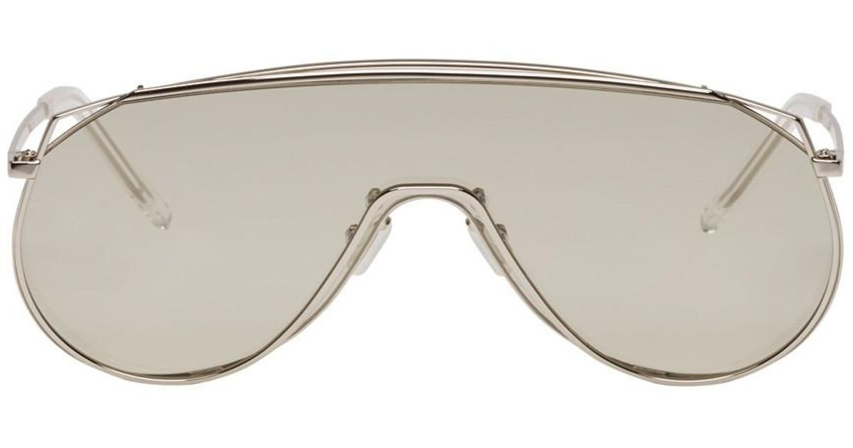 a6dcfc2969f Gentle Monster Silver Afix Shield Sunglasses in Gray - Lyst