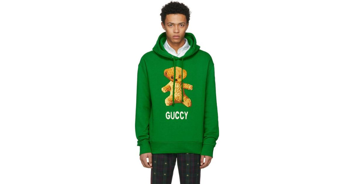 391754ade60 Lyst - Gucci Green Guccy Teddy Bear Hoodie in Green for Men