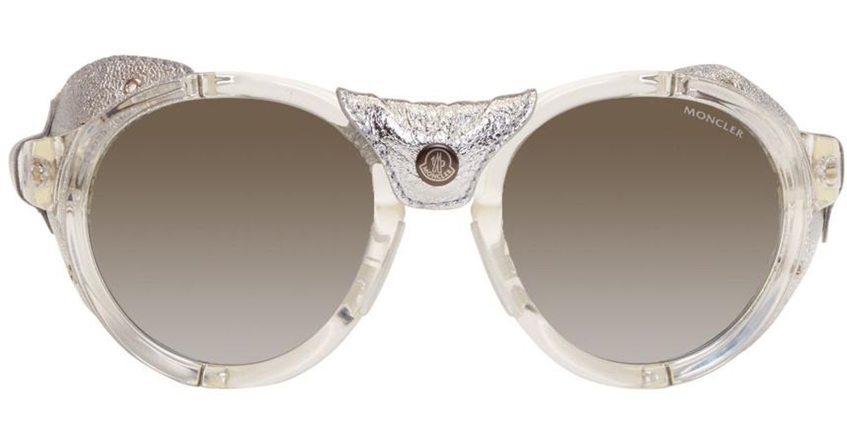 Moncler Clear & Silver Round Sunglasses iyazMUNuOs