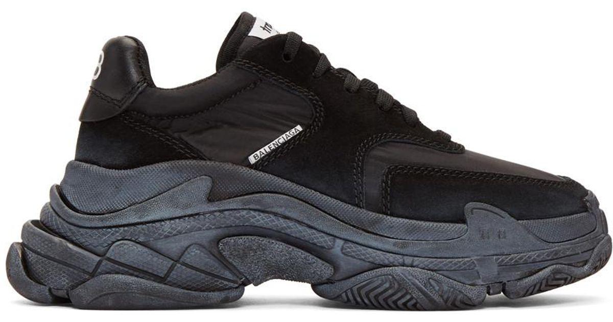 Lyst - Balenciaga Black Diagonal Logo Triple S Sneakers in Black 9cc988d0a260